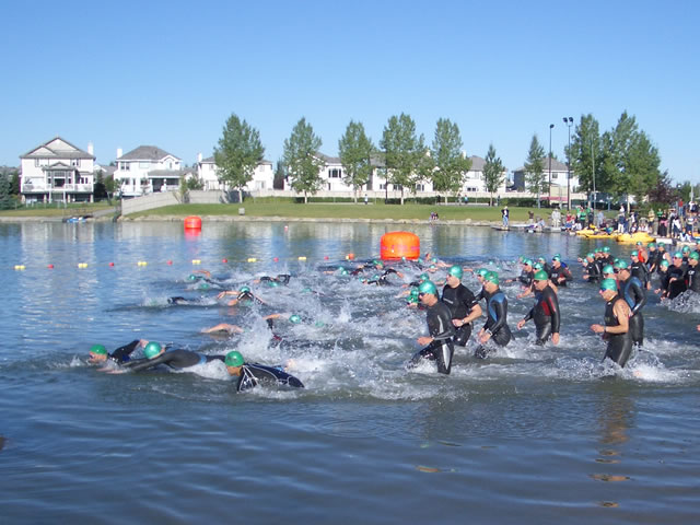 Swim Start, Lake Chaparral Triathlon, Olympic Distance 2:20:00 August 2006
