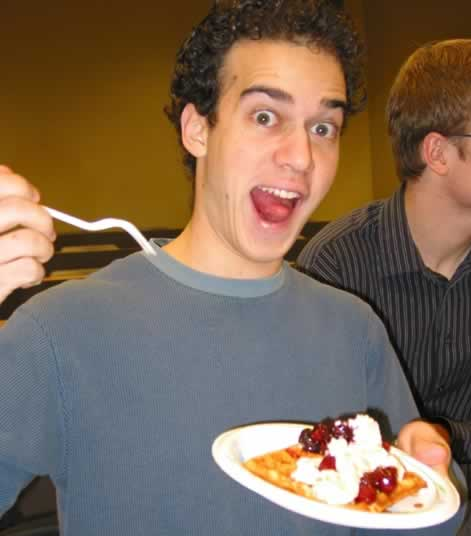 Rob gets a bit overexcited on waffle morning 2006.