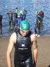 Prior to swim start, Lake Chaparral Triathlon, Olympic Distance 2:20:00 August 2006