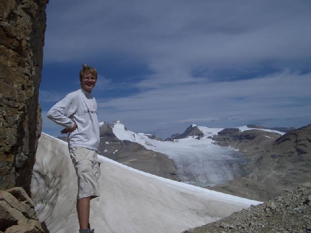 at a pass overlooking Wapta Icefield
