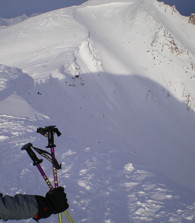 A look at Whitewall, down towards Paula's line where we ended up doing our sweet lines. Kicking Horse 2006-2007 Season