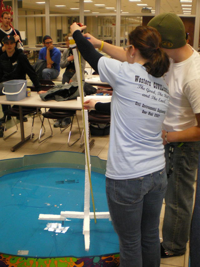 Scoring 148 cm on the Design competition. Elevated a ping-pong ball above the surface of the kiddie-pool using a strict budget and limited resources. We had the tallest structure by far! but may have been outscored on other aspects of the competition. Eng