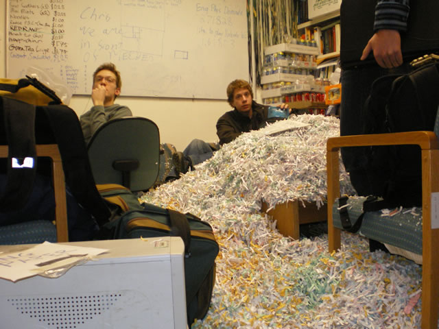 The First Year Club's Eng Week prank on out club office. approximately 15 garbage bags of paper shreddings were dumped in our office, taking many an hour to clean out. EngWeek 2007