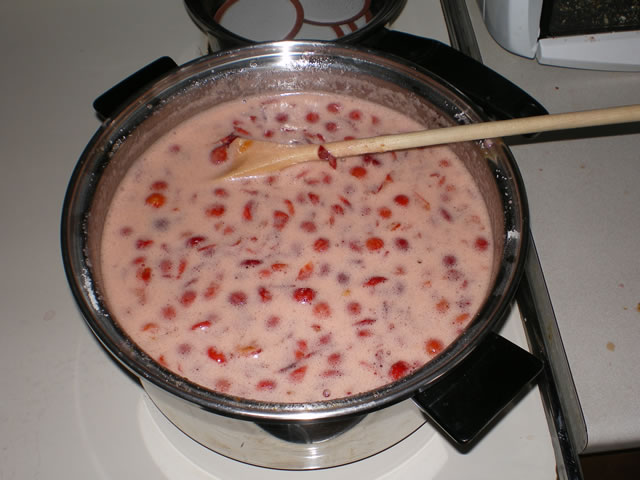 Jam boiling on stove