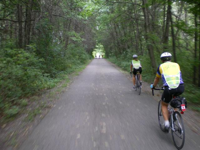 Riding along the bike path in Indiana