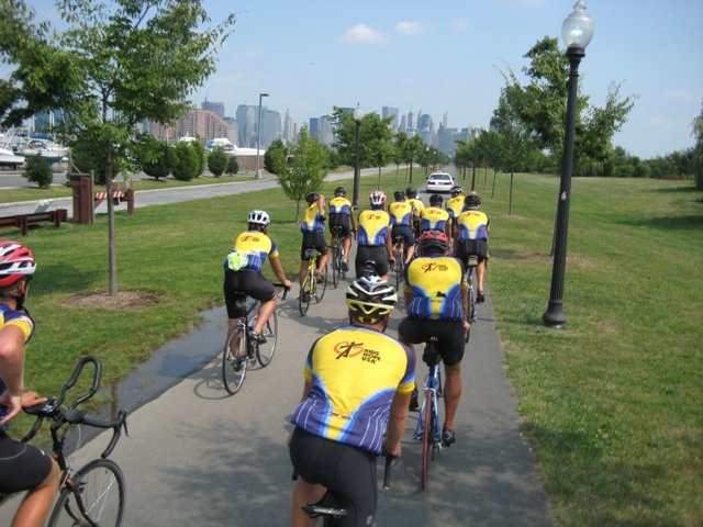 Riding along bike path in Liberty State Park