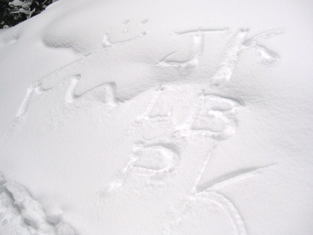Our friends left a nice message in the snowbank